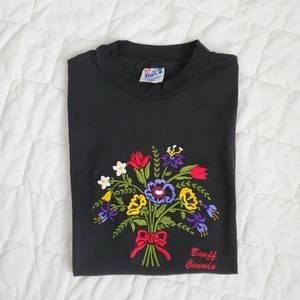 Vintage Embroidered Flower Bouquet Destination Tee